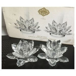Set of 2 Large Lotus Flower Crystal Candle Holders